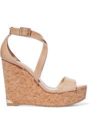 Jimmy Choo   Portia patent-leather wedge sandals at Net A Porter