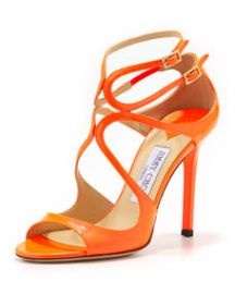 Jimmy Choo Lang Patent Strappy Sandal  Flame at Neiman Marcus