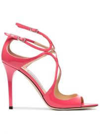 Jimmy Choo Pink Lang 100 Patent Leather Sandals at Farfetch