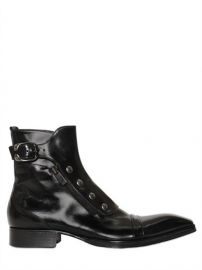 Jo Ghost Polished Leather Ankle Boots at Luisaviaroma