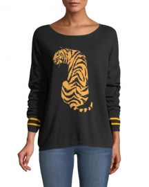 Joan Vass Boat-Neck Long-Sleeve Sequin-Striped Tiger-Intarsia Sweater at Neiman Marcus