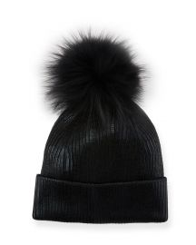 Jocelyn Metallic Fur-Pompom Beanie Hat at Neiman Marcus