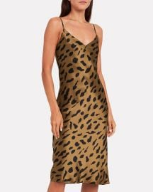 Jodie Leopard Silk Slip Dress at Intermix