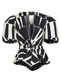 Johanna Ortiz - Mastermind Two-Tone Print Puff-Sleeve Wrap Handkerchief Peplum Top at Saks Fifth Avenue