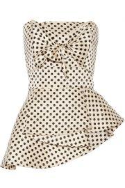 Johanna Ortiz   Truman strapless polka-dot silk-charmeuse top at Net A Porter