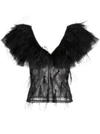 Johanna Ortiz Feather Trim Sheer Blouse - Farfetch at Farfetch