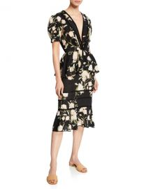 Johanna Ortiz Floral Print Eyelet Dress at Neiman Marcus