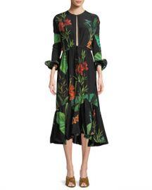 Johanna Ortiz Namibia Long-Sleeves Keyhole Silk Midi Dress at Neiman Marcus
