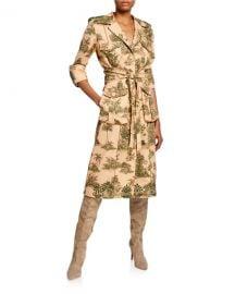 Johanna Ortiz Vientos Invernales 3 4-Sleeve Landscape-Print Trench Coat at Neiman Marcus