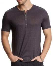 John Varvatos Men  x27 s Regular-Fit Short-Sleeve Linen Henley Shirt at Neiman Marcus