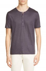 John Varvatos Regular Fit Slub Linen Henley   Nordstrom at Nordstrom