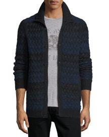 John Varvatos Star USA Basketweave-Knit Striped Cardigan at Neiman Marcus