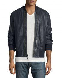 John Varvatos Star USA Burnished Leather Bomber Jacket at Neiman Marcus