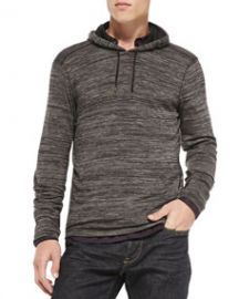John Varvatos Star USA Raw Edge Cut-Print Pullover Hoodie Gray at Neiman Marcus