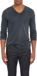 John Varvatos Star USA Reverse-Print Long-Sleeve V-neck T-shirt at Barneys