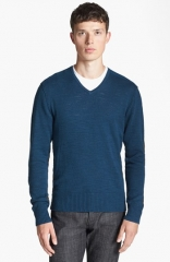 John Varvatos Star USA V-Neck Sweater in Peacock at Nordstrom