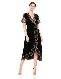 Johnny Was Embroidered Wrap Dress at Amazon