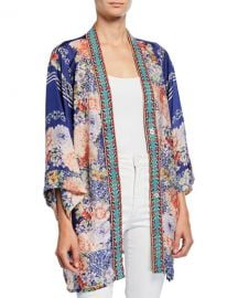 Johnny Was Blati Printed Silk Shorter Kimono with Embroidered Trim at Neiman Marcus