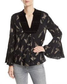 Johnny Was Metallic-Print Velvet-Trim Blouse at Neiman Marcus