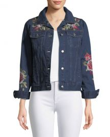 Johnny Was Petite Desi Floral-Embroidered Denim Jacket at Neiman Marcus