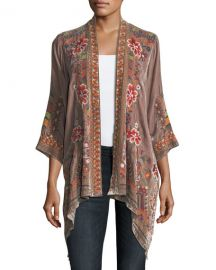 Johnny Was Petite Waleska Draped Embroidered Velvet Cardigan at Neiman Marcus