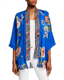 Johnny Was Plus Size Bonian Floral Georgette Kimono w  Embroidered Trim at Neiman Marcus