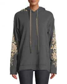 Johnny Was Plus Size Ollena Embroidered Pullover Hoodie Sweatshirt at Neiman Marcus