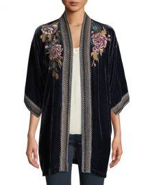 Johnny Was Quito Floral-Embroidered Velvet Kimono w  Border Stitching at Neiman Marcus