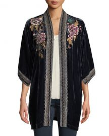 Johnny WasQuito Floral-Embroidered Velvet Kimono w  Border Stitching at Neiman Marcus