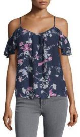 Joie - Adorlee Silk Floral Cold-Shoulder Top Blue at Saks Off 5th