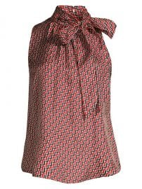 Joie - Pascale Geometric Tie Neck Blouse at Saks Fifth Avenue