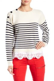 Joie   Aefre Wool  amp  Cashmere Blend Eyelet Lace Trimmed Stripe Sweater   Nordstrom Rack at Nordstrom Rack