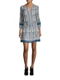 Joie - Galene Geometric Border Print Silk Dress at Saks Fifth Avenue