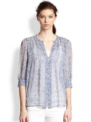 Joie - Laurel Silk Chiffon Printed Pintuck Blouse at Saks Fifth Avenue
