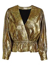 Joie - Nadeen Metallic Pleated Faux-Wrap Blouse at Saks Fifth Avenue