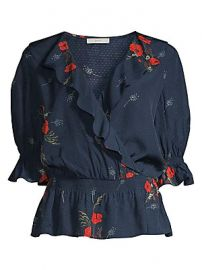 Joie - Ottaline Floral Illusion Mesh Faux Wrap Blouse at Saks Fifth Avenue