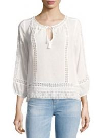 Joie - Three-Quarter Sleeve Cotton Blouse at Saks Off 5th