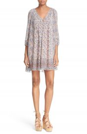 Joie  Foxley  Floral Print Silk Peasant Dress at Nordstrom