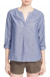Joie  Kalan  Cotton Split Neck Roll Sleeve Shirt at Nordstrom
