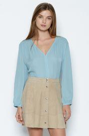 Joie  Leyva  Smocked Silk Blouse Blue at Nordstrom