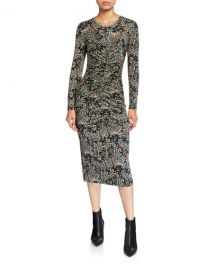 Joie Aja Paisley-Print Ruched Long-Sleeve Dress at Neiman Marcus
