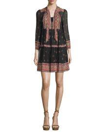 Joie Alpina Paisley-Print Silk Georgette Dress  Caviar at Neiman Marcus