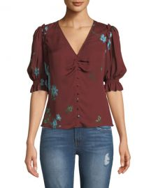 Joie Anevy Floral Silk Button-Front Ruffle Top at Neiman Marcus