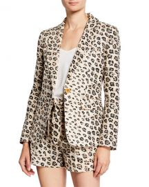 Joie Anilah Leopard-Print One-Button Linen Blazer at Neiman Marcus