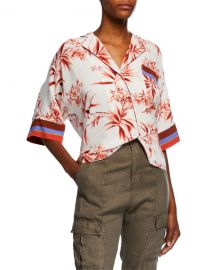 Joie Bayley Floral-Print Button-Down Top at Neiman Marcus
