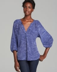 Joie Blouse - Addie B Tweed Printed Silk in Neptune at Bloomingdales
