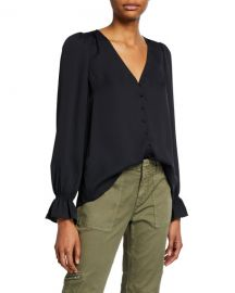 Joie Bolona Button-Front Top at Neiman Marcus