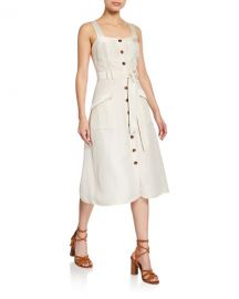 Joie Bourey Linen Utility Midi Dress at Neiman Marcus