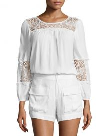 Joie Coastal Embroidered-Lace Top at Neiman Marcus