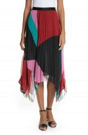 Joie Dashiella Colorblock Pleated Chiffon Skirt at Nordstrom